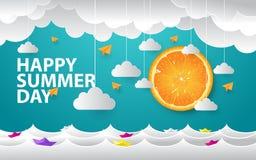 Fondo del día de verano con el estilo de papel ilustración del vector