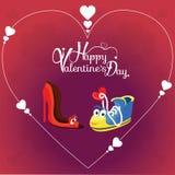 Fondo del día del ` s de la tarjeta del día de San Valentín con el carácter de dos amores Imágenes de archivo libres de regalías