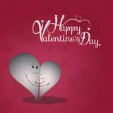 Fondo del día del ` s de la tarjeta del día de San Valentín con el carácter del corazón de dos amores Imagenes de archivo
