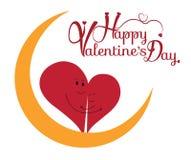 Fondo del día del ` s de la tarjeta del día de San Valentín con el carácter del corazón de dos amores Fotos de archivo libres de regalías