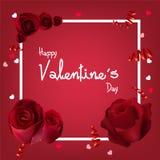 Fondo del día del ` s de la tarjeta del día de San Valentín con las rosas Imagen de archivo