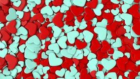 Fondo del día del ` s de la tarjeta del día de San Valentín Corazones azules y rojos del grupo Fotos de archivo