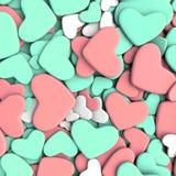 Fondo del día del ` s de la tarjeta del día de San Valentín Corazones azules y rosados del grupo Fotografía de archivo