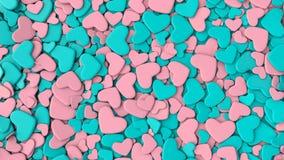 Fondo del día del ` s de la tarjeta del día de San Valentín Corazones azules y rosados del grupo Imagen de archivo libre de regalías