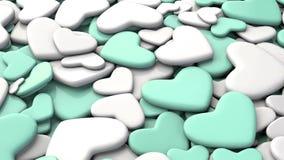 Fondo del día del ` s de la tarjeta del día de San Valentín Corazones blancos y azules del grupo Fotos de archivo