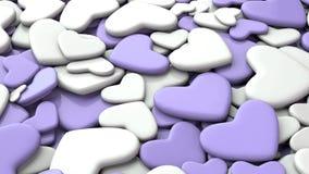 Fondo del día del ` s de la tarjeta del día de San Valentín Corazones blancos y púrpuras del grupo Fotografía de archivo libre de regalías