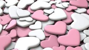 Fondo del día del ` s de la tarjeta del día de San Valentín Corazones blancos y rosados del grupo Fotos de archivo