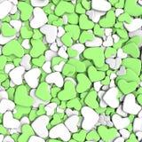 Fondo del día del ` s de la tarjeta del día de San Valentín Corazones blancos y verdes del grupo Foto de archivo libre de regalías