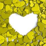 Fondo del día del ` s de la tarjeta del día de San Valentín Corazones de color verde amarillo del grupo Fotos de archivo libres de regalías