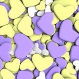 Fondo del día del ` s de la tarjeta del día de San Valentín Corazones púrpuras y amarillos del grupo Imagen de archivo