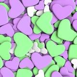 Fondo del día del ` s de la tarjeta del día de San Valentín Corazones púrpuras y verdes del grupo Foto de archivo libre de regalías