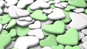 Fondo del día del ` s de la tarjeta del día de San Valentín Corazones verdes y blancos del grupo Imagen de archivo libre de regalías