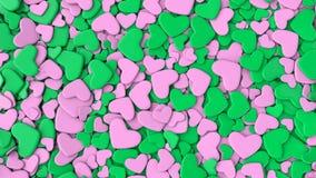 Fondo del día del ` s de la tarjeta del día de San Valentín Corazones verdes y rosados del grupo Fotografía de archivo