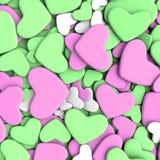 Fondo del día del ` s de la tarjeta del día de San Valentín Corazones verdes y rosados del grupo Imagen de archivo libre de regalías