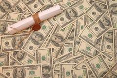 Fondo del dólar con la letra Fotos de archivo