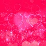 Fondo del día de tarjeta del día de San Valentín con los corazones rosados Fotografía de archivo libre de regalías