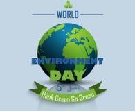 Fondo del día del ambiente mundial con el globo Imagen de archivo libre de regalías