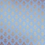 Fondo del damasco del azul y del oro Imagenes de archivo