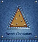 Fondo del denim di Natale illustrazione vettoriale
