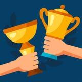 Fondo del deporte o del negocio con los premios y las manos stock de ilustración