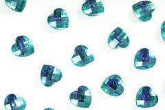 Fondo del diamante artificial Textura de la forma del corazón como el contexto aisló la foto blanca del estudio Modelo del crista Foto de archivo libre de regalías