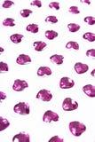 Fondo del diamante artificial Textura de la forma del corazón como el contexto aisló la foto blanca del estudio Modelo del crista Fotografía de archivo libre de regalías