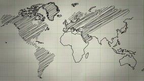 Fondo del dibujo del mapa del mundo almacen de video