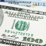 Fondo del dinero (cercano para arriba de billete de dólar) Foto de archivo