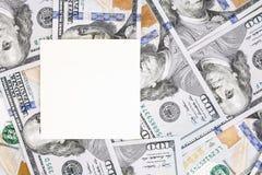 Fondo del dinero con la maqueta negra Lugar oscuro de Copyspace para el texto Moneda de los E.E.U.U. cientos fondos de los billet Imagenes de archivo