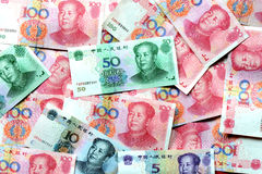 Fondo del dinero de los billetes de banco de RMB Fotografía de archivo