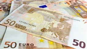 Fondo del dinero del euro cincuenta Fotografía de archivo libre de regalías