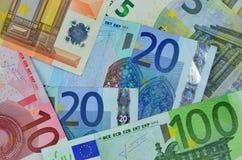 Fondo del dinero euro Fotos de archivo libres de regalías