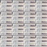 Fondo del dinero; Veinte billetes de dólar Imagen de archivo libre de regalías