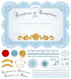 Fondo del diploma/del certificado con la frontera azul Foto de archivo