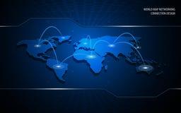 Fondo del diseño de concepto de la innovación de la tecnología de la conexión del establecimiento de una red del mapa del mundo ilustración del vector