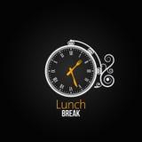 Fondo del diseño de concepto del reloj del almuerzo Fotos de archivo