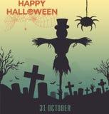 Fondo del diseño de Halloween con los sepulcros y los espantapájaros viejos asustadizos stock de ilustración
