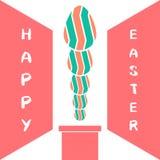 Fondo del diseño de la tarjeta de felicitación de la chimenea y de los huevos Foto de archivo