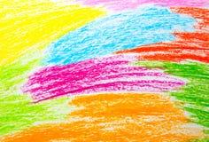 Fondo del disegno della mano del pastello di cera Fotografie Stock