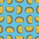 Fondo del disegno del taco Modello messicano degli alimenti a rapida preparazione Alimento da me Immagini Stock Libere da Diritti