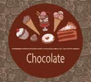 Fondo del dolce di cioccolato dei dolci illustrazione di stock
