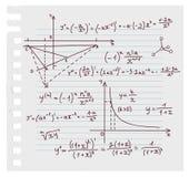 Fondo del doodle de la álgebra stock de ilustración