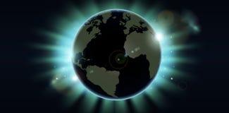 Fondo del eclipse del globo del mundo stock de ilustración