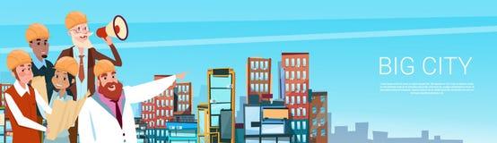 Fondo del edificio de la ciudad de Workers Team Boss Hold Megaphone Loudspeaker del arquitecto del constructor libre illustration