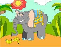 Fondo del ejemplo coloreado de un elefante ilustración del vector