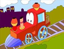 Fondo del ejemplo coloreado de un tren del juguete ilustración del vector