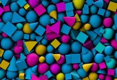 fondo del ejemplo 3d con formas geométricas del color ilustración del vector