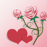 Fondo del ejemplo de Rose y de los corazones Fotos de archivo libres de regalías