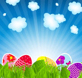 Fondo del ejemplo del vector con los huevos de Pascua ilustración del vector