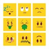 Fondo del emoji de las caras del cuadrado stock de ilustración